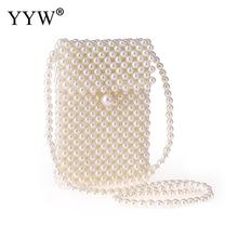 купить Handmade Pearl Bags Women Handbags Ladies Evening Party Shoulder Bag Elegant Beaded Messenger Crossbody Bags Mini Phone Purse по цене 1152.82 рублей
