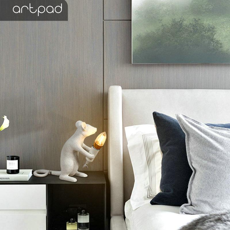 Artpad, креативный белый светильник с мышами крыс EU/US, прикроватные лампы для спальни, DC12V, художественная настольная декоративная лампа, Домашний Светильник, ing - 3