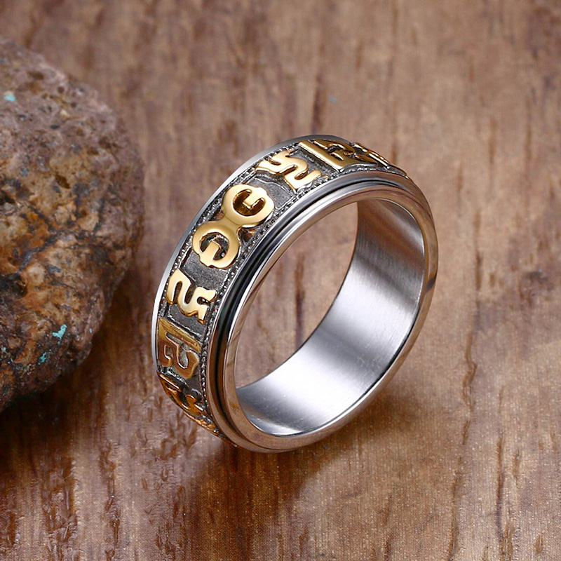Mens Tri Color Stainles Steel Rings Tibetan Buddhist Six True Syllable Mantra Om Mani