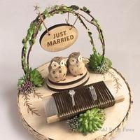 1pcs lot Handmade Rustic Wooden Happiness Owl Ring pillow Wedding photo props engagement Birthday decoration custom ring bearer