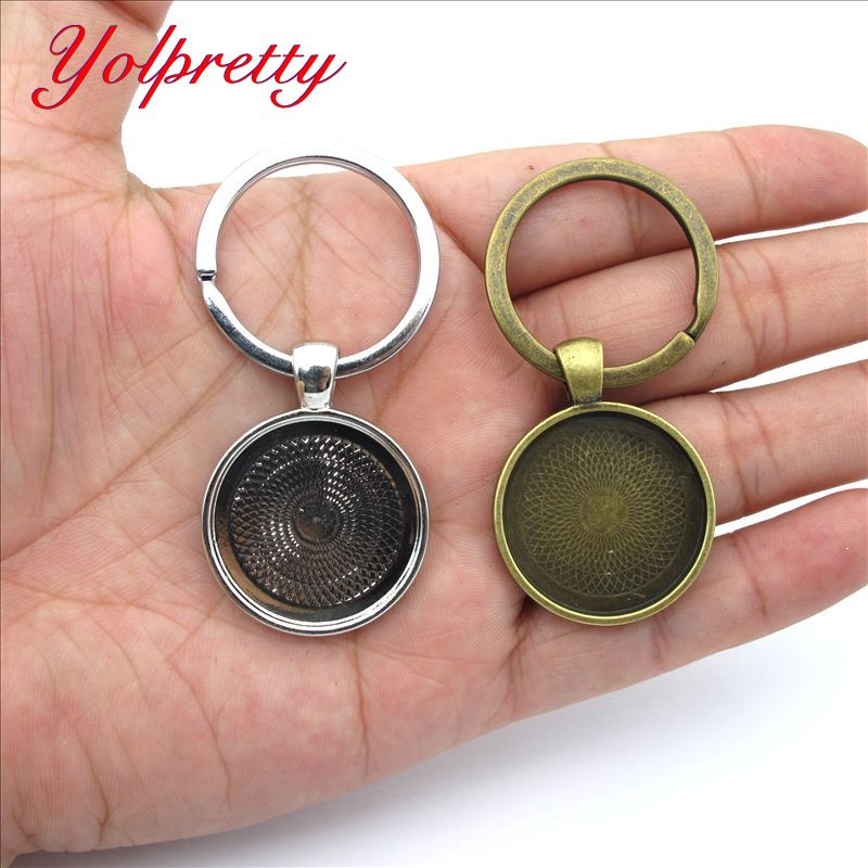 Yolprtty New Fashion 3pcs 25mm Metal Base Findings Silver Bronze Key Buckle Cameo Setting Classic Fashion