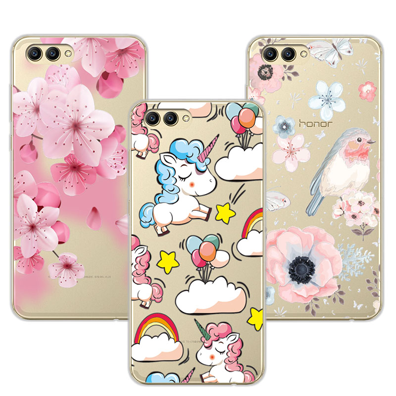 Cute Dog Case Fundas For Huawei Honor V10 V 10 Soft TPU Flowers 3D Relief Lace Cover Capa For Huawei Honor View 10 Coque +Gift