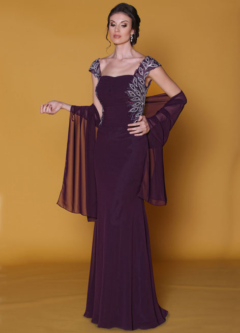 New Fashion Custom Made Sheath Cap Sleeve Beaded Appliques Floor Length Mother Of The Bride Dresses With Jacket