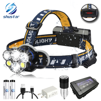 Brightest LED Headlamp Waterproof Headlight 8 lighting modes 6xLED Head Suitable for fishing, cycling,camping, etc. panyue hot sell outdoor head lighting 20w led headlight 4 modes 3000lm led head lamp xml t6 headlamp for camping fishing