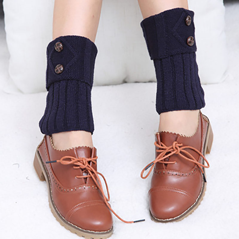 Adofeeno New Fashion Women Leg Warmers Ladies Boot Socks Boot Cuffs with Button Toppers Knitting Polainas