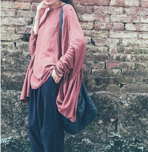 Große Original Design Neue Persönlichkeit Unregelmäßige Frauen 100% Baumwolle Tops Volle Hülse Loses hemd Brust Plus Größe Mori Girl