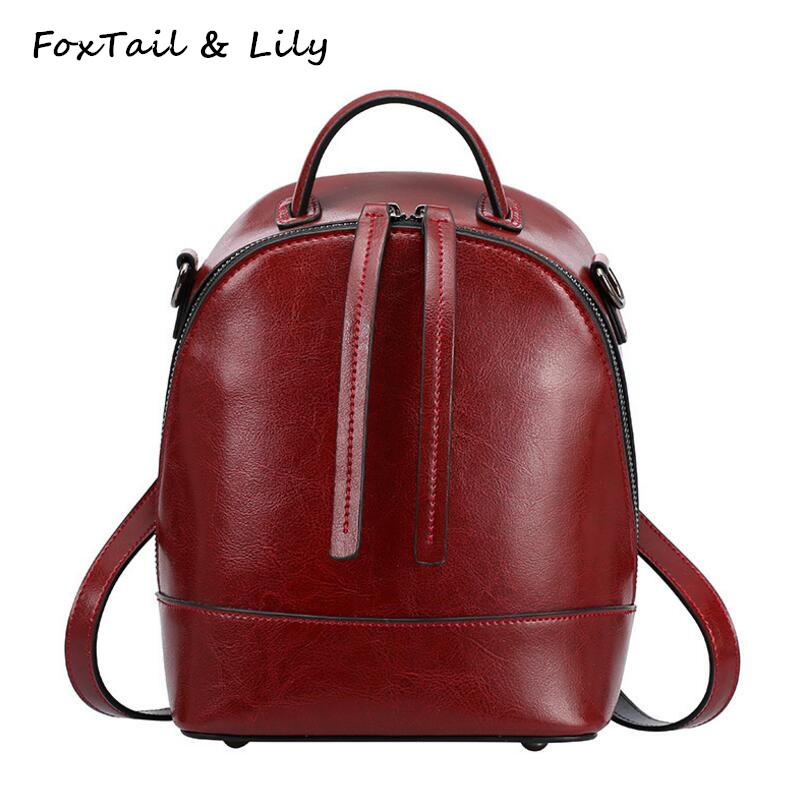 FoxTail & Lily Small Shoulder Bag Backpack Women Genuine Leather Fashion School Bags for Girls Luxury Quality Travel Backpacks