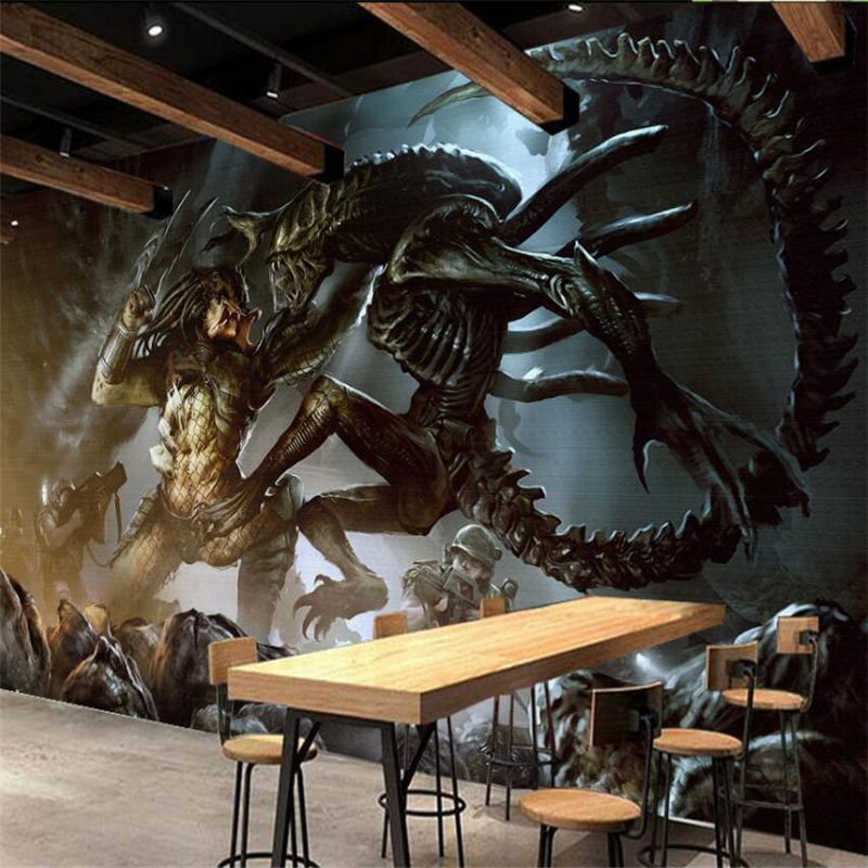 Beibehang Alien Vs. Predator Game Background Wall Painting Custom Large-scale Mural Green Silk Cloth Wallpaperpapel De Parede