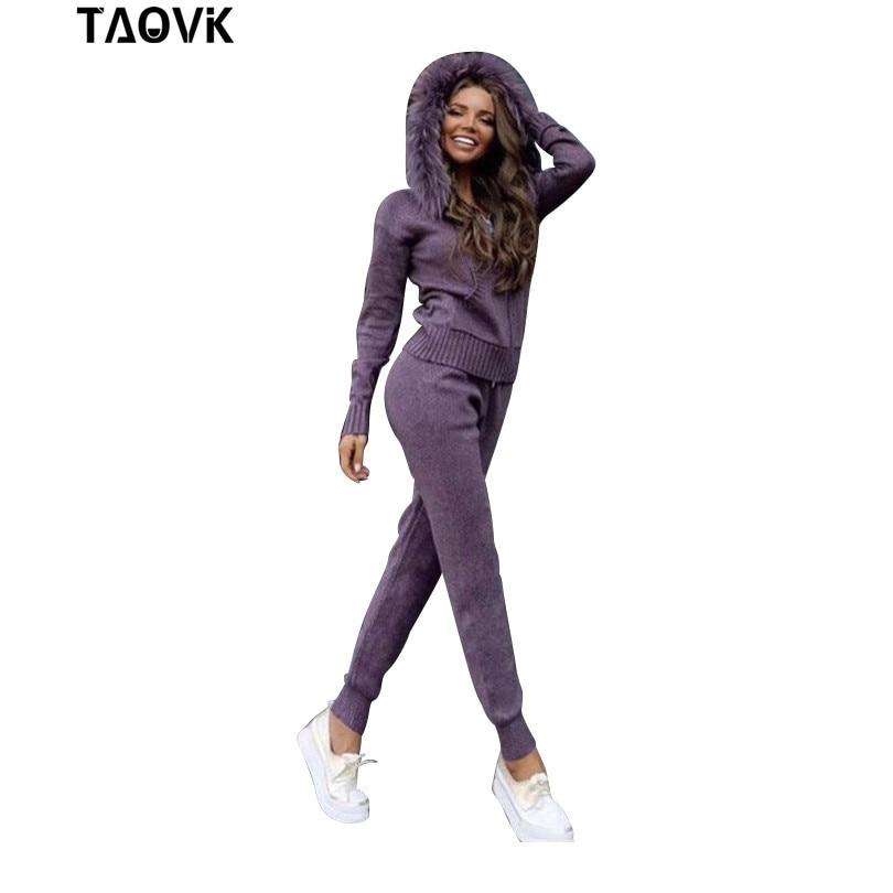 PRENDRE D'hiver Cachemire Tricoté pour dame chaud Costume Naturel de fourrure à capuche pull avec fermeture à glissière haut pantalon Loisirs Deux piece les femmes Set outfit
