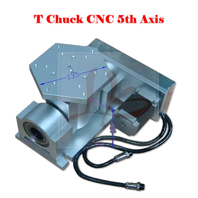 CNC 5 axis ( A aixs, Rotary axis ) T chuck type for cnc router cnc milling machine cnc 5 axis a aixs rotary axis three jaw chuck type for cnc router