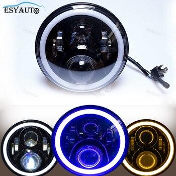 Car light 7 inch Headlight 60W Angel eyes white DRL White Yellow Blue turn Signal LED Headlamp