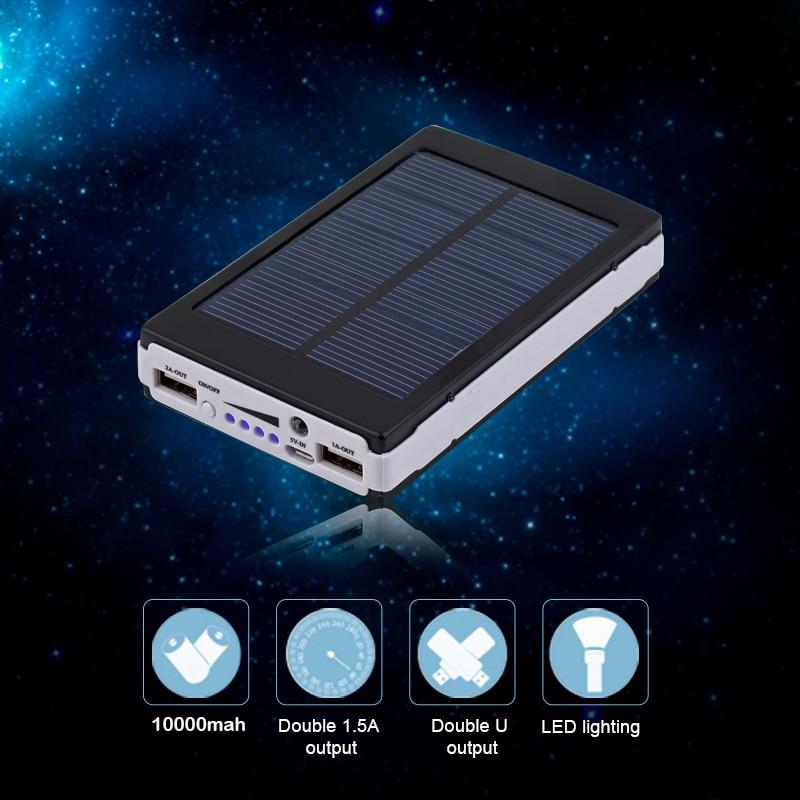 imágenes para 10000 mAh Emergencia Portátil Súper Cargador Dual USB Batería Externa PowerBank Banco de la Energía Solar Para Teléfonos Móviles y Tabletas