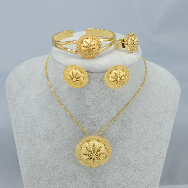 Habesha Jewelry set Ethiopian Bridal Wedding  Gold Plated African 4pcs set/Nigeria/Sudan/Eritrea/Kenya/Kedis Jewelry #002502