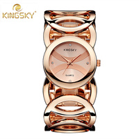Popular KINGSKY Luxury Brand Women Watches Fashion Design Gold Watch Stainless Steel Bracelet Quartz Wristwatch Relogio