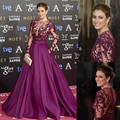 Honey Qiao Evening Dresses Burgundy Purple A Line with Long Illusion Sleeve Sheer Top See Through Floor Length Long Prom Dress