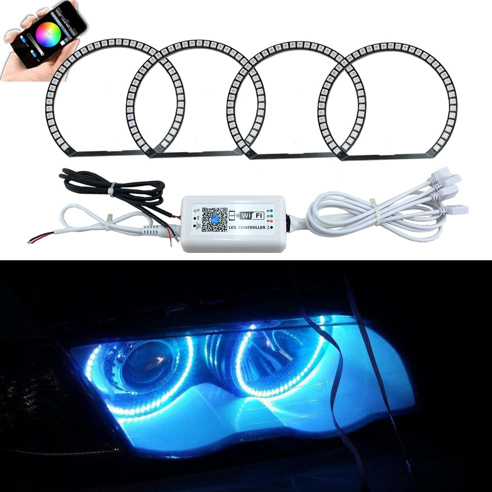 4x131mm 5050 42SMD RGB LED Angel Eyes Light Headlight with Halo Ring Wifi Remote Control Kit for BMW E46 E36 E38 E39 3 5 series d20w30w40w50w60w80w road lamp head can pick arm street lights
