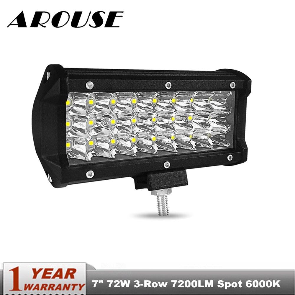 """60W 7/"""" LED Work Light Bar Spot Beam Driving Lamp For Off Road SUV Truck 6000K"""