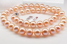 Huge18″11mm South Sea genuine Gold pink Perfect round Pearl Necklace AAA >Selling jewerly free shipping
