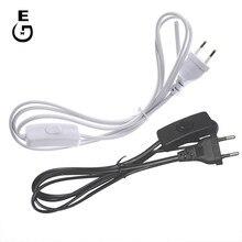 5PCS/ lot 1,8 m AC Power Kabel Auf/Aus-Taste Schalter Netzkabel Zwei-pin EU stecker Kabel Verlängerung Kabel UNS Typ Adapter