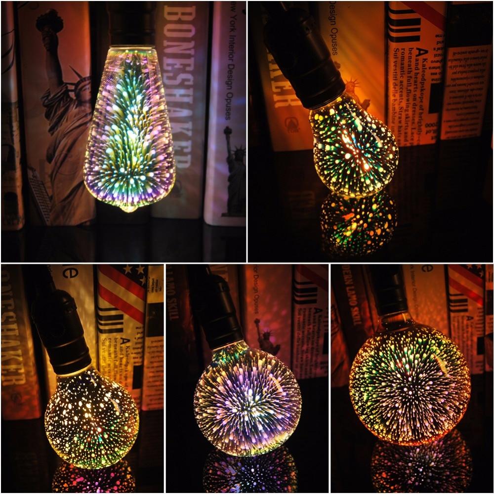 3D Led Bulb Edison Star E27 Colorful Bombillas Vintage Glass Light Retro Lampara Ampoule Christmas Home Decor Bar Party Wedding