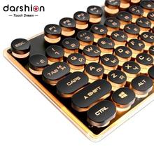 ゲームロシア英語キーボードレトロラウンドグローイングキーキャップ金属パネルのバックライト 有線金属パネルイルミネーションボーダー USB