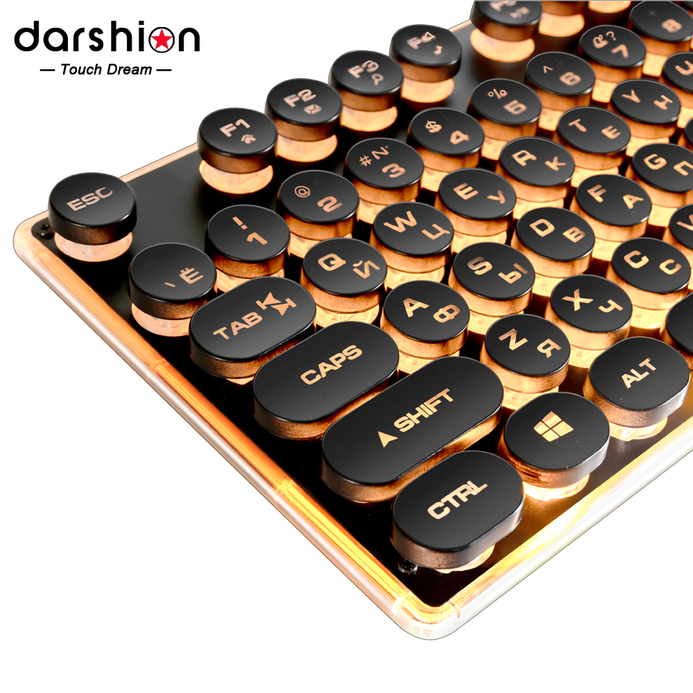 Gaming Russian English Keyboard Retro Round Glowing Keycap Metal Panel Backlit USB Wired Metal Panel Illuminated Border