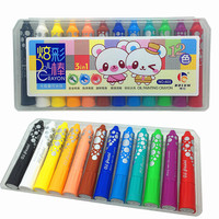 Stationery Colorful Stick 12 Color Rotating Crayons Art Supplies Oil Painting Brush Children Silk Oil
