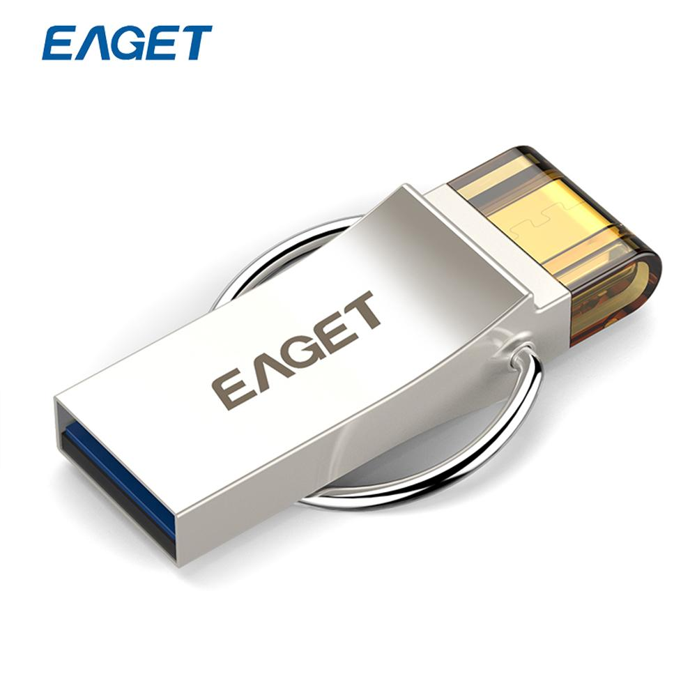 Eaget V90 16gb 32gb 64gb Usb Flash Drive Encryption 30 Otg Flashdisk Toshiba Smartphone Pen Metal Material Stick For Tablet Pc In Drives From