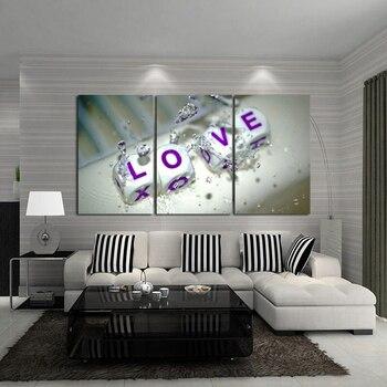 Cuadros modernos de moda para pared decoración del hogar 3 unids/set pintura al óleo sobre lienzo pintura abstracta pintura al óleo bonito amor