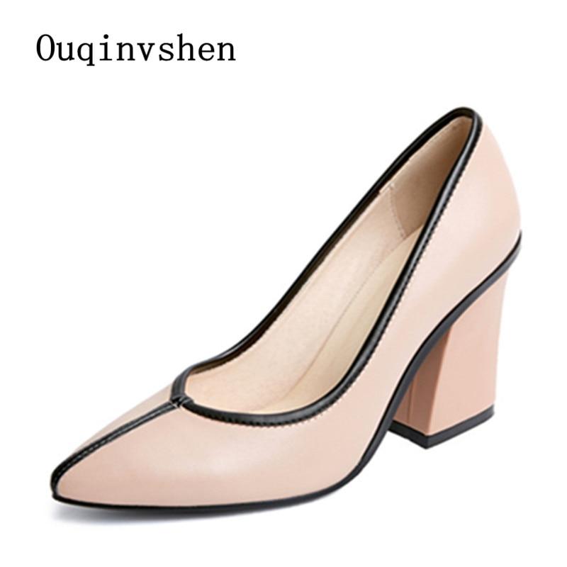 ФОТО 2017 Pink heels Zapatos de tacon para mujer White Black Beige Plus Size Genuine Leather Cow Leather Plus Size 32cm-42cm