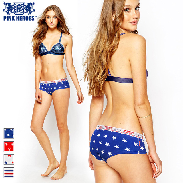 Pink Hero Cotton Fashion Sexy Star Stripes Mens Print Shorts Boxer Couples Underwear Comfy Shorts women panties lover underpants