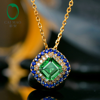 Caimao Lovely Antique Emerald Pendant Natural Diamond and Sapphire Surround Solid 14kt Yellow Gold