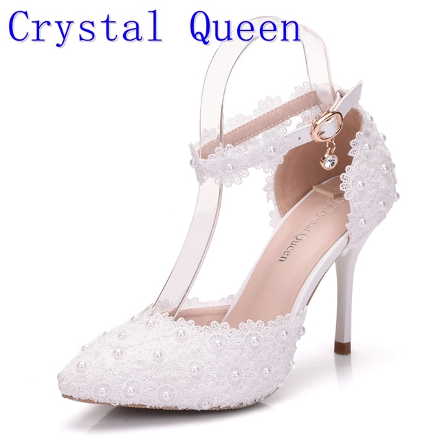 dc59ebaa38e Crystal Queen Wome Sandals Wedding Shoes White Lace Flower Wristband Bridal  Shoes Pointed Toe Thin Heels satin Female Shoes