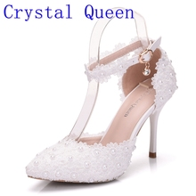 4d73aaf4d77dac Crystal Queen Wome Sandals Wedding Shoes White Lace Flower Wristband Bridal  Shoes Pointed Toe Thin Heels