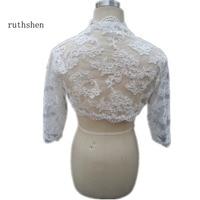 Hot Sale 3/4 Sleeves High Quanlity Lace Wedding Dresses Accessories Bridal Jackets Custom Made Women Wraps Shrug Shawl Bolero