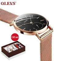 b1434b9e231 OLEVS 2019 Mulheres Da Moda Relógios de Presente de Luxo Definir a  Qualidade Superior Cinta Múltipla
