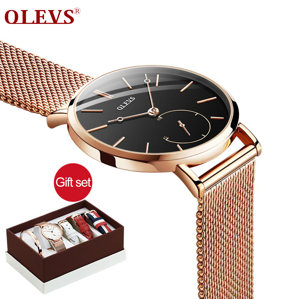OLEVS 2019 Fashion Women Watches Luxury Gift Set Top Quality Strap Multiple Time Zone Wrist Watch For Girl Gift OF Love Dropping