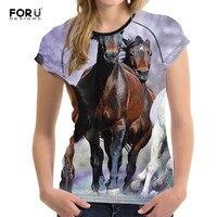 FORUDESIGNS 3D T Shirt Animal Crazy Horse T Shirt For Girl Summer Female Shirt Short Sleeved