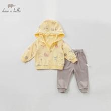 DBZ10118 דייב bella אביב תינוקת אופנה בגדי סטי בנות יפה ארוך שרוול חליפות ילדים