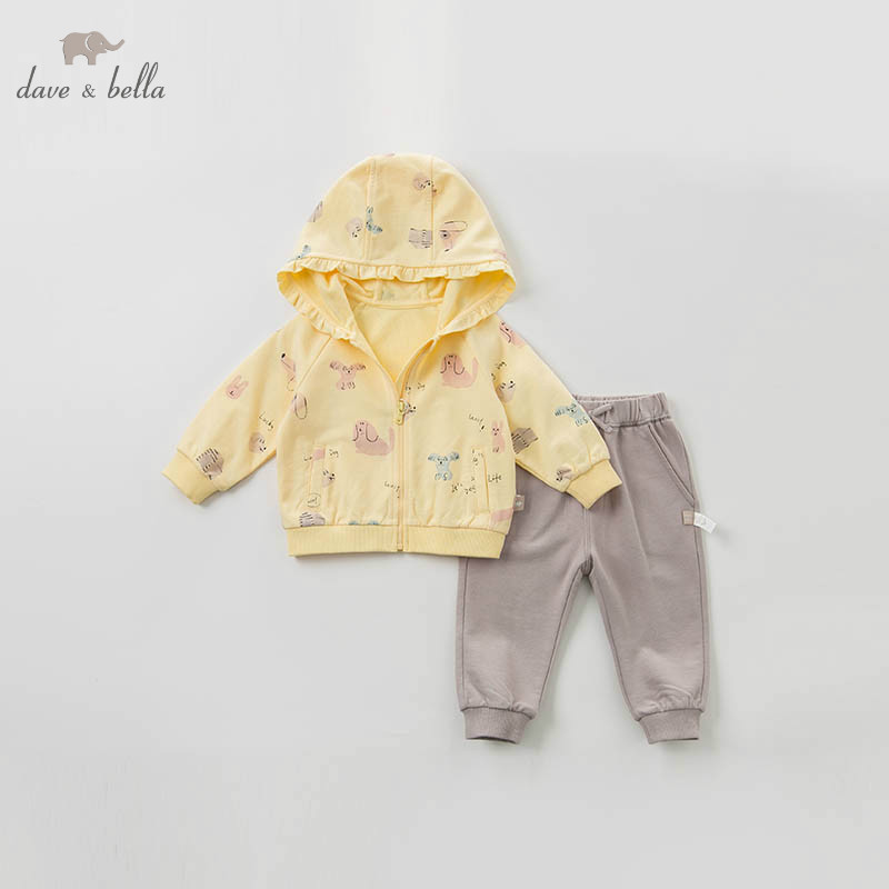 DBZ10118 dave bella spring baby girl fashion clothing sets girls  lovely long sleeve suits childrenClothing Sets