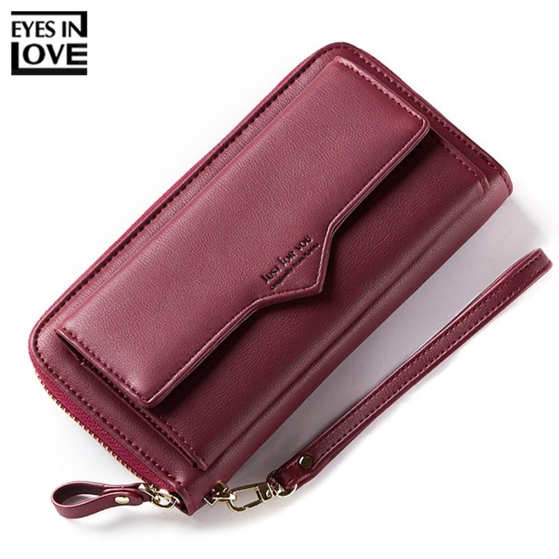 Brand Large Capacity Women Wallet Clutch Cell Phone Pocket Card Holder Long Wallets Female Wristband Ladies Handbag Purse HOT