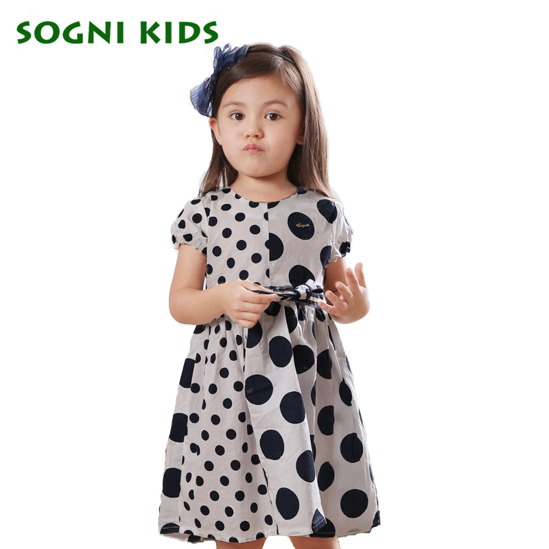 ФОТО SOGNI KIDS Bow Girls Dresses Toddler Polka Dot Girl Clothes Christmas Diamante Dress Baby Girl Round Neck Knee-Length Dresses