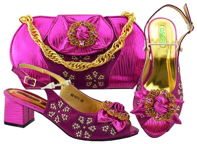 Newest Style African Matching Shoes And Bag Set Beautiful Design European Ladies Slipper And Bags Sets! Fuchsia color MM1071