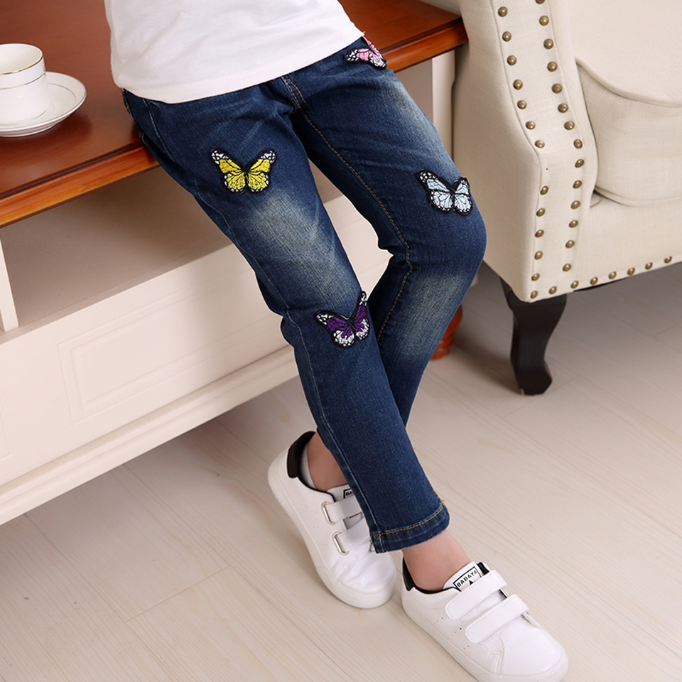 Hot Girls Jeans Four Butterflies Soft Denim Cotton Pants For Girl Trousers Children Clothing Infant Autumn Pant Girls Jeans girl skinny ripped jeans teenage girl denim pants leggings cotton elasticity jeans for big girls pants casual trousers 3y 15y