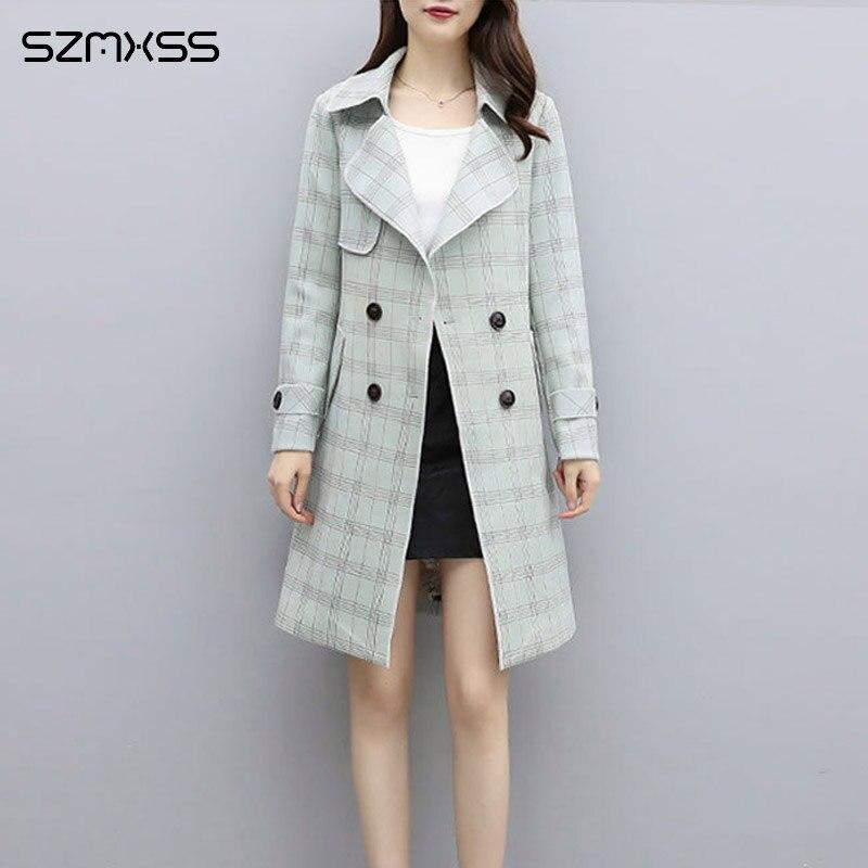 2018 가을 뉴 ol 코트 & 자켓 한국어 고품질 체크 무늬 자켓 옷깃 긴 소매 스트레이트 윈드 브레이커-에서베이식 쟈켓부터 여성 의류 의  그룹 1
