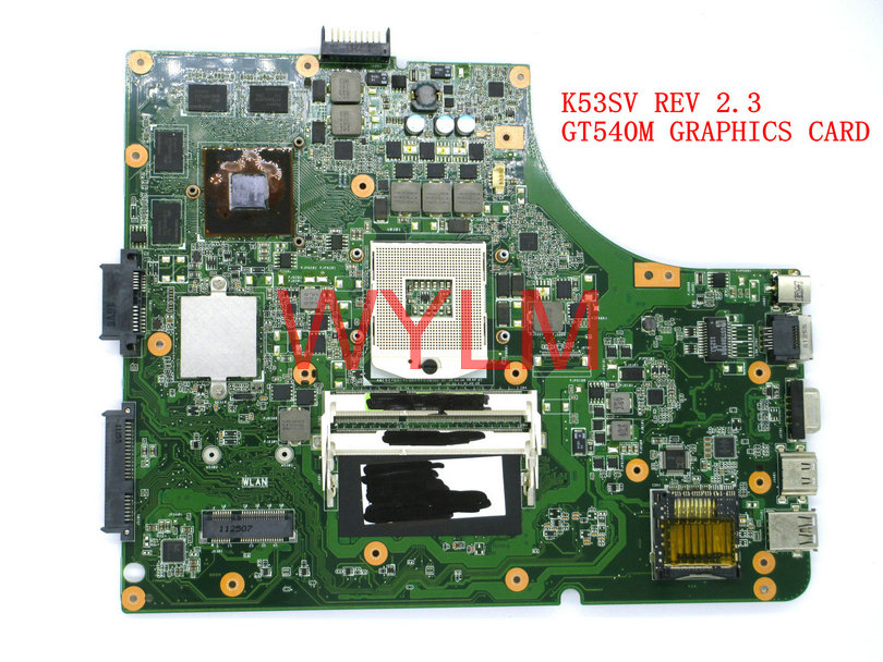 free shipping K53SV GT540M 1GB USB2.0 REV 2.3 Mainboard For ASUS K53S X53S A53S P53S Laptop motherboard N12P-GS-A1 100% Tested k73sd for asus x73e k73e k73sj k73sd laptop motherboard gt540m 1g rev 2 3 pga989 hm65 ddr3 mainboard free shipping