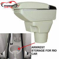 BIGGER SPACE LUXURY USB FOR RIO 2006 2012 Car Armrest Box Central Storage Content Box With