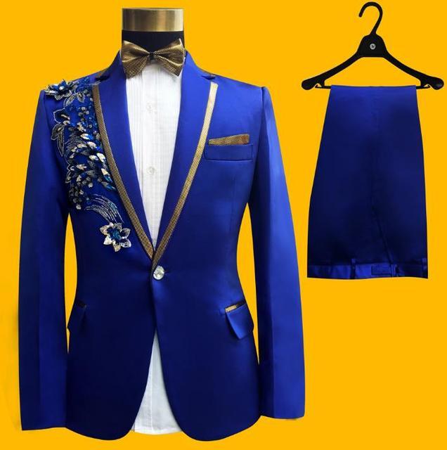 Sequin stag blazer men formal dress latest coat pant designs suit men blazer masculino slim fit marriage wedding suits for men's Men's Fashion