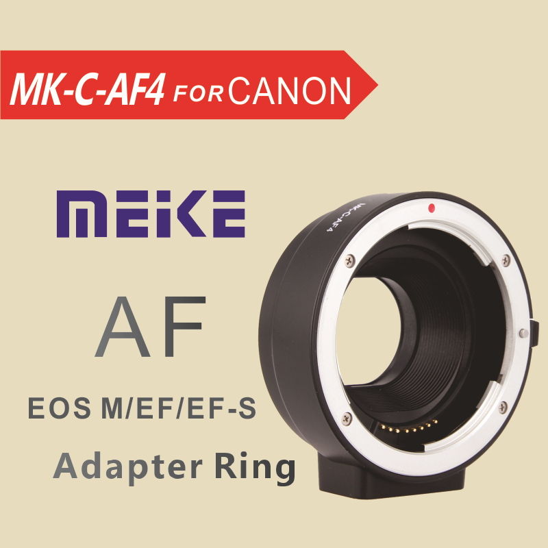 MEKE Meike Adapter Ring lens MK-C-AF4 Auto Focus for Canon EOS EF-S lens to eosM EF-M camera Mount fotga pk eosm pentax pk lens to canon m mount adapter black silver