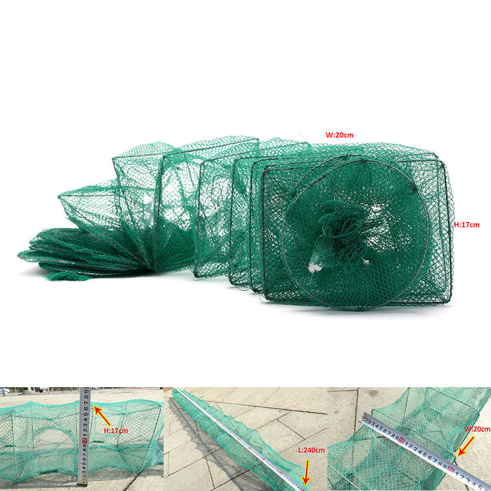 2.4 m Granchio Gamberi Lobster Catcher Trappola Dal Vivo di Pesce Netto Pieghevole Portatile di Rete Da Pesca Anguilla Esca Gamberi Reti